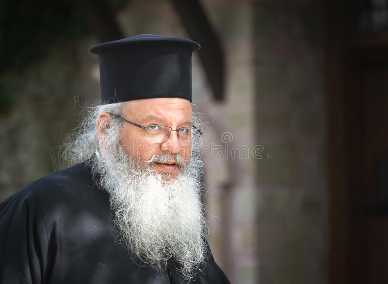 The portrait of orthodox priest stock images