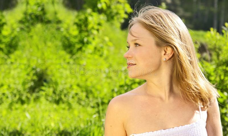 Portrait over greenery royalty free stock photography