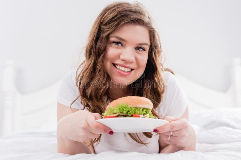 portrait of overweight smiling woman royalty free stock photo