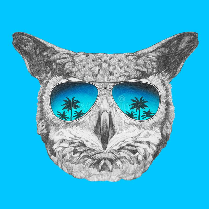 Portrait of Owl with mirrored sunglasses, hand-drawn illustration. Hand drawn illustration of animal royalty free illustration
