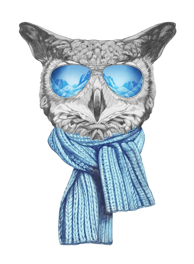Portrait of Owl with sunglasses, hand-drawn illustration. Hand drawn illustration of animal vector illustration
