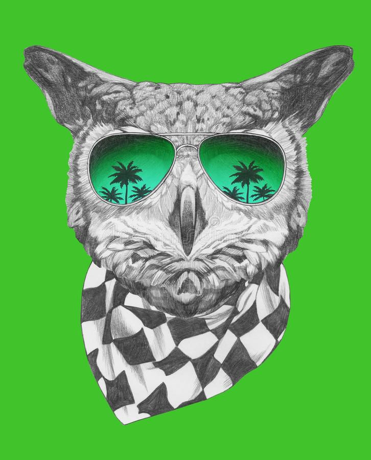 Portrait of Owl with sunglasses and scarf, hand-drawn illustration. Hand drawn illustration of animal vector illustration