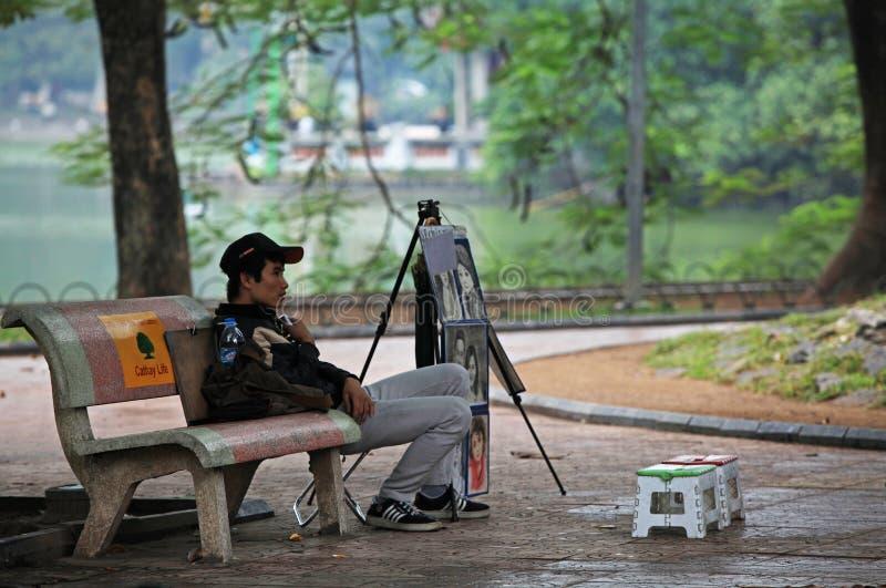 Portrait painter waiting for customer stock image