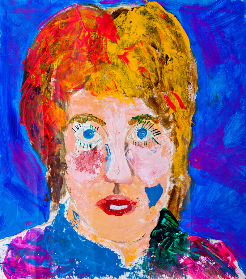 Portrait painting of womens head stock image