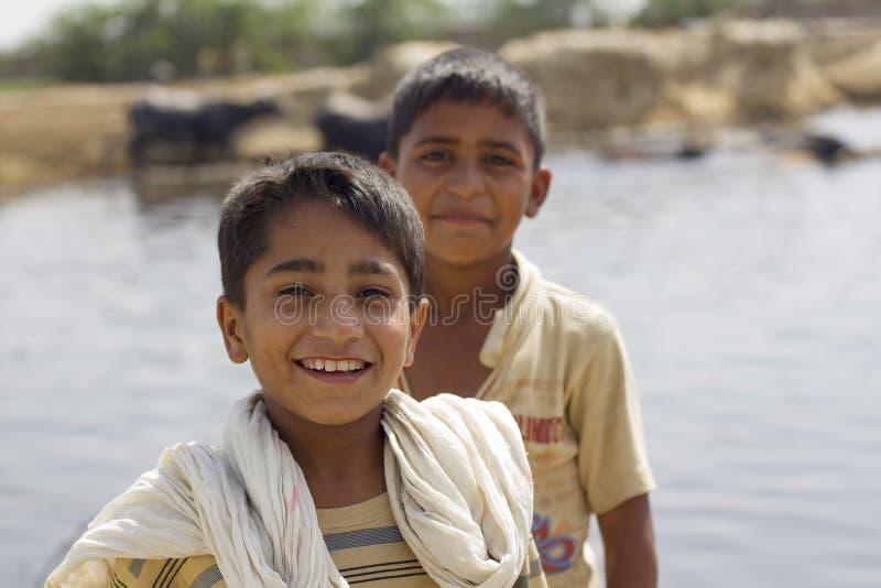 Portrait of 2 pakistani boys royalty free stock photo