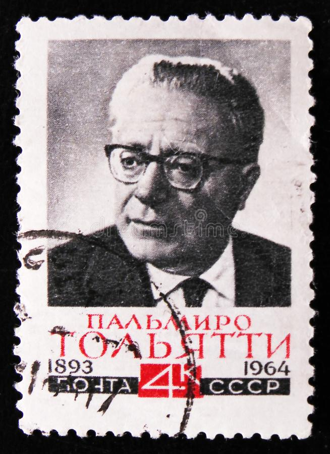 Portrait Palmiro Togliatti - Italian communist leader, circa 1964. MOSCOW, RUSSIA - APRIL 2, 2017: A post stamp printed in USSR shows portrait Palmiro Togliatti royalty free stock photography