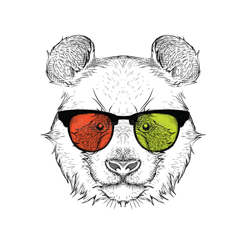 Portrait of the panda in the colored glasses. Think different. Vector illustration. royalty free illustration