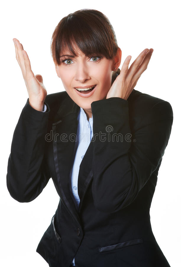 Portrait of panic young business woman stock photos