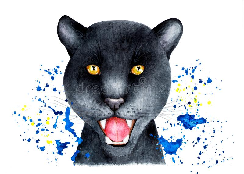 Portrait of a Panther in a spray of water. Watercolor illustration. royalty free stock image