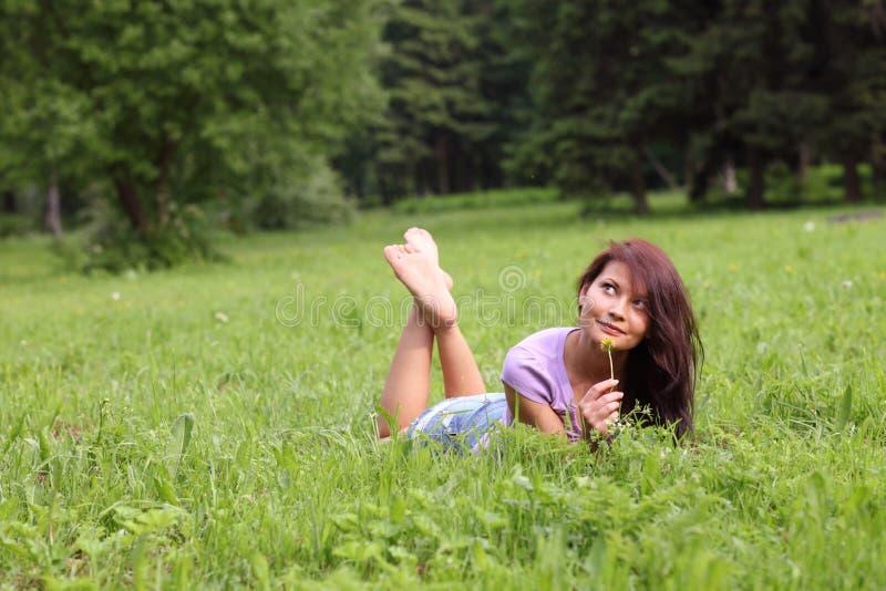 Download Portrait in park stock photo. Image of female, nose, brunette - 9874704