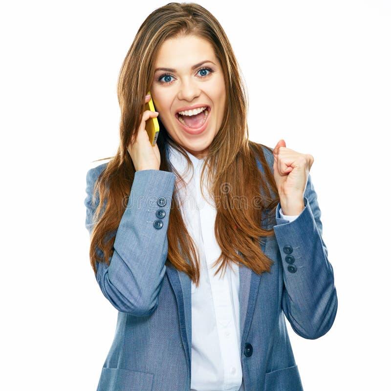 Portrait parlant d'affaires de téléphone réussi de femme Backgro blanc photographie stock libre de droits