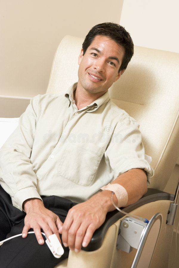 Portrait Of A Patient Receiving Chemotherapy royalty free stock images