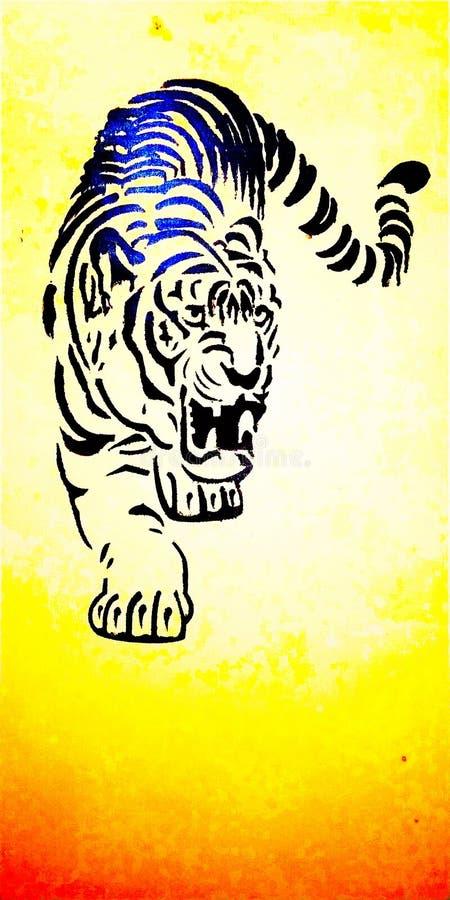 Portrait peint de tigre sur le mur illustration de vecteur