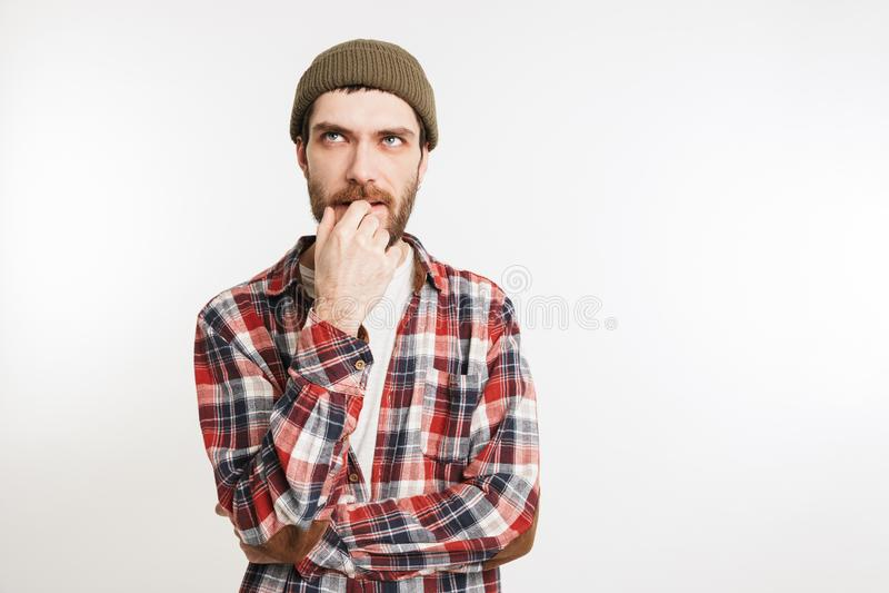 Portrait of a pensive bearded man stock photos