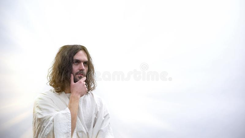 Portrait of pensive God on white template for ad, christian community, churches. Stock photo royalty free stock image