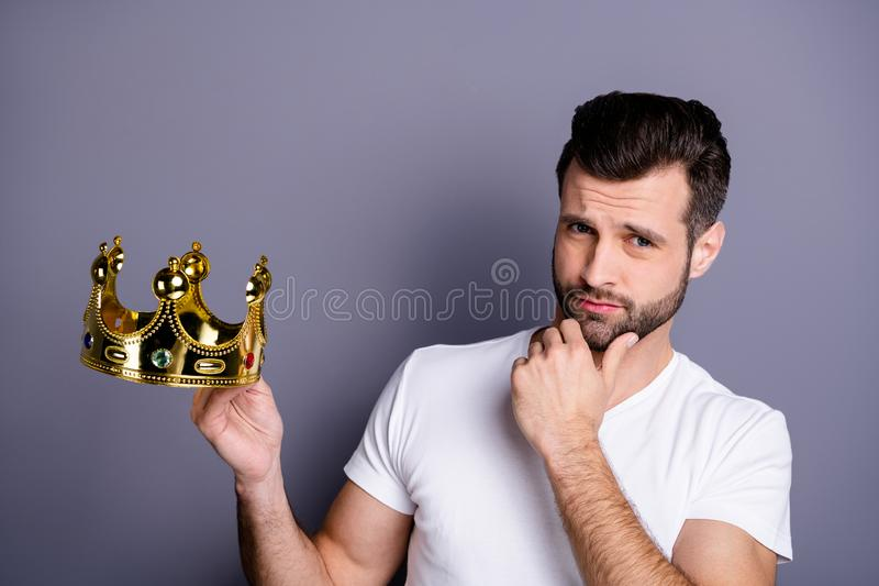 Portrait of pensive gorgeous charming guy touch chin fingers hands look have thoughts solution decision choice dressed. Portrait of pensive gorgeous charming guy stock photography