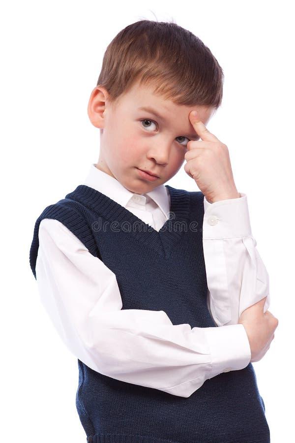 Portrait of a pensive pupil stock image