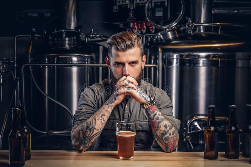 Portrait of a pensive tattooed hipster male with stylish beard and hair in the shirt in indie brewery. Portrait of a pensive tattooed hipster male with stylish stock photo