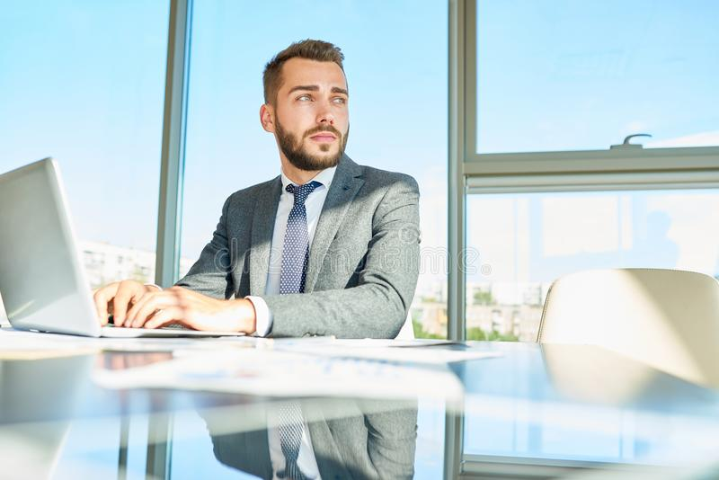 Portrait of Pensive White Collar Worker royalty free stock photos