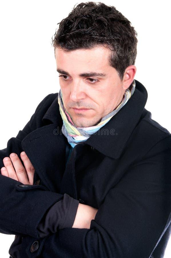 Portrait of a pensive worried man stock photos