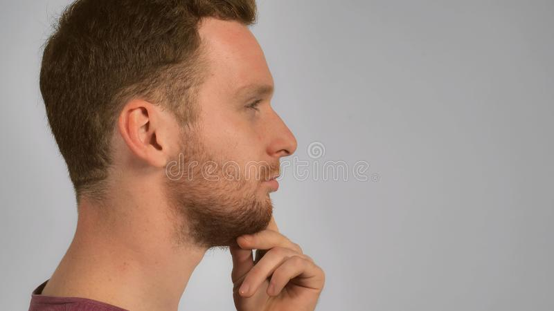 Guy showing hand gesture have idea royalty free stock photo
