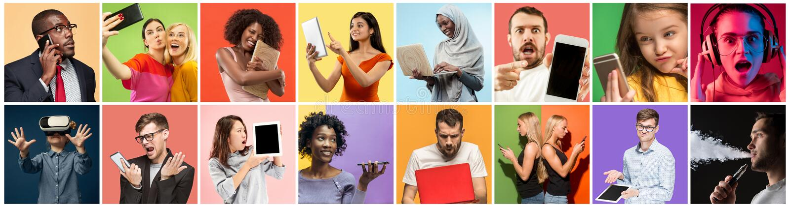 Portrait of people using different gadgets on multicolor background royalty free stock photos
