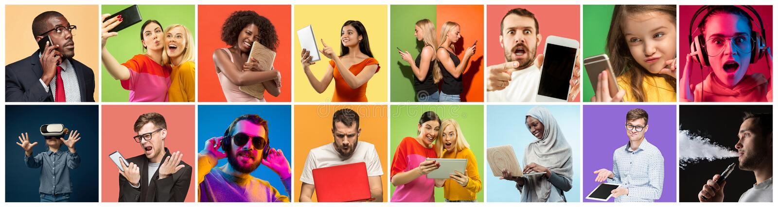 Portrait of people using different gadgets on multicolor background royalty free stock image