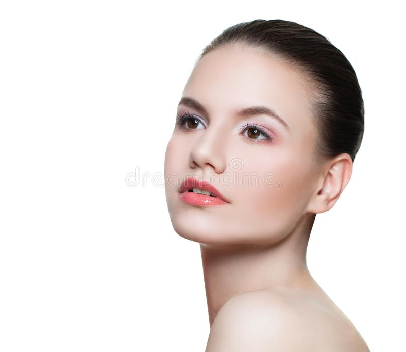 Portrait of perfect young woman spa model with clear skin isolated on white stock photo