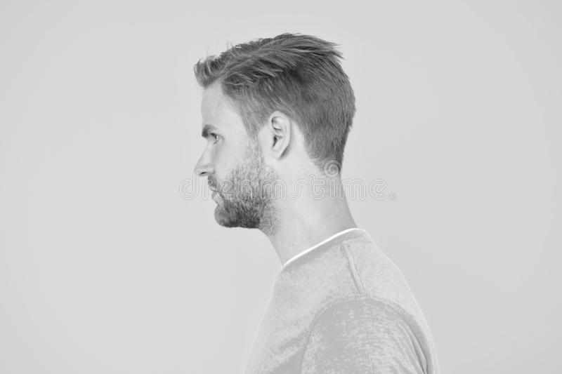 Portrait of perfection. Male barber care. mens beauty. Hair and beard care. charismatic macho man profile look. guy sexy. And stylish bristle. handsome man royalty free stock photo