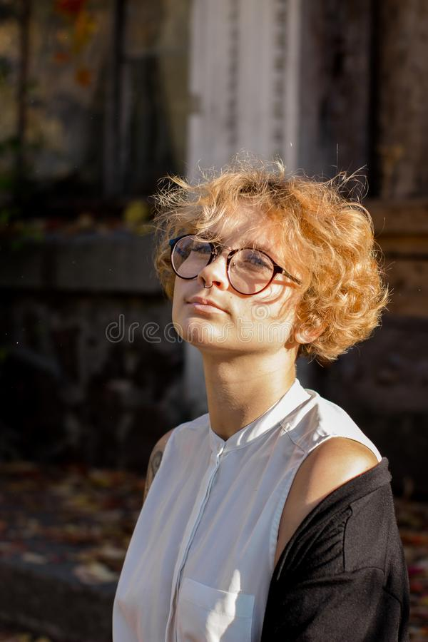 Portrait photo in the atmospheric lifestyle of a beautiful girl stock photography