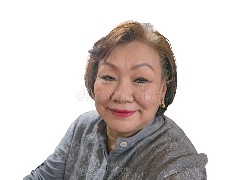 Portrait photo of Beauty Senior Asian women. Portrait photo of Beauty Senior Asian woman on isolated background royalty free stock photos