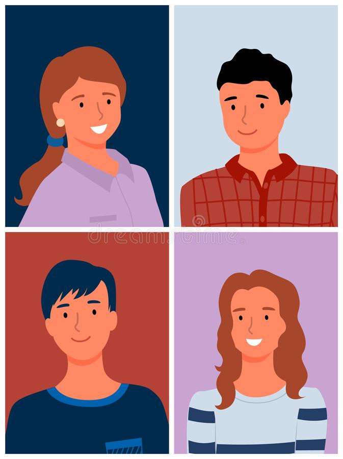 Smiling Man and Woman, Portrait View, Photo Vector. Portrait photo set of man and woman, smiling relatives or colleagues, people photography in flat design style vector illustration