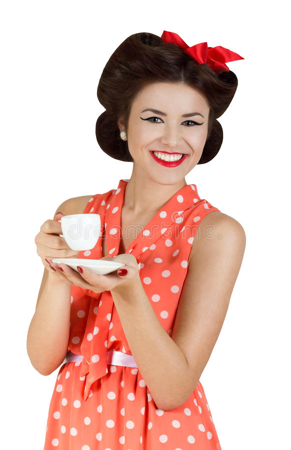 Portrait of pin-up style woman royalty free stock photo