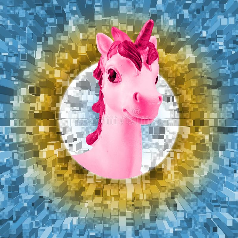Portrait of a pink unicorn on an abstract background. Trend. Minimalism. Contemporary art collage. Portrait of a pink unicorn on an abstract background. Trend royalty free stock photos