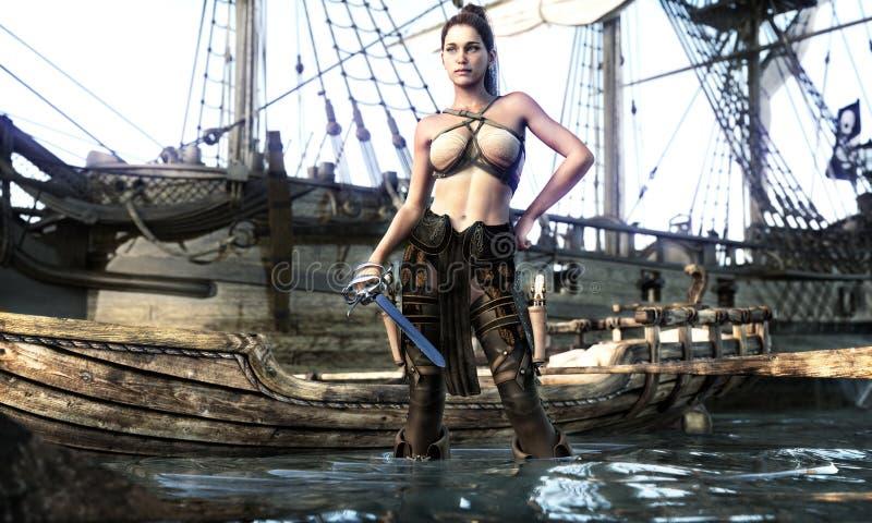 Portrait of a pirate female coming ashore . stock illustration