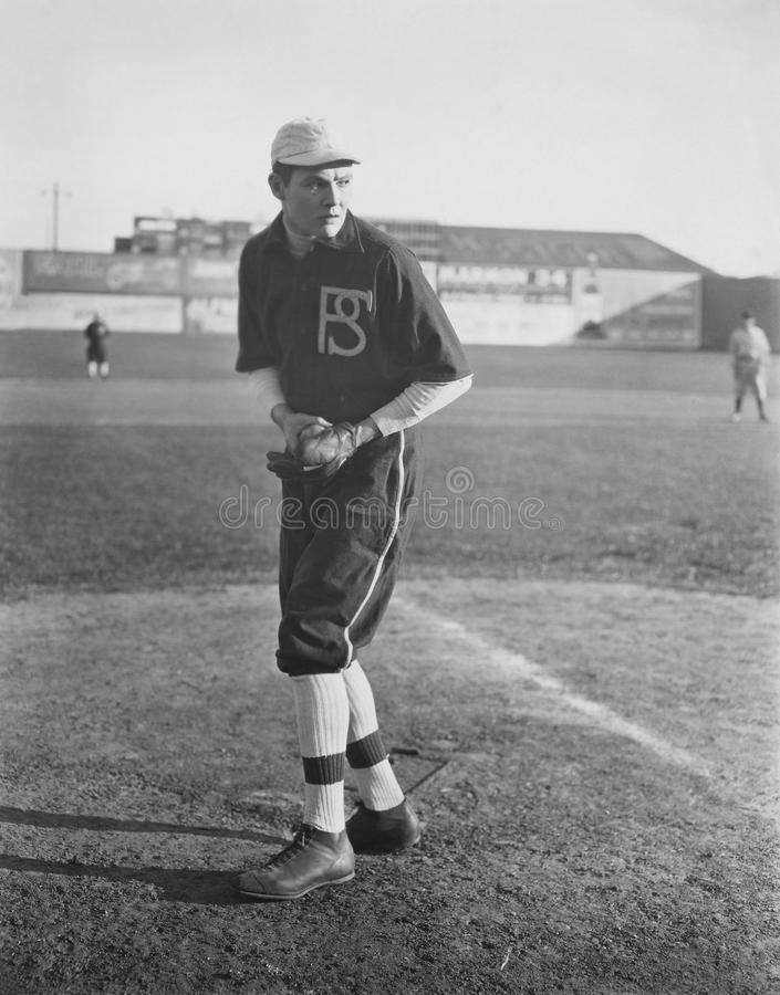 Portrait of pitcher on baseball field stock photos