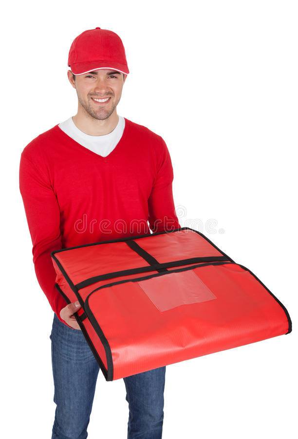 Portrait of pizza delivery boy with thermal bag. Isolated on white stock photos