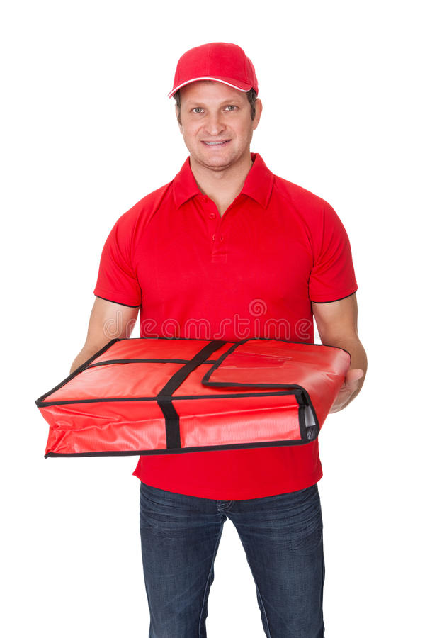 Portrait of pizza delivery guy stock image