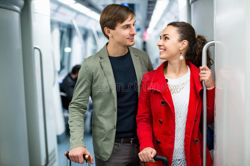 Portrait of playful young people making acquaintance royalty free stock image