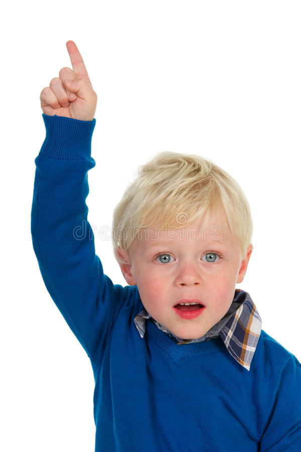 Portrait Of A Pointing Blond Little Boy Stock Photos