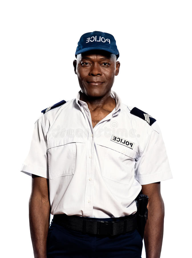 Portrait of policeman in studio royalty free stock photography