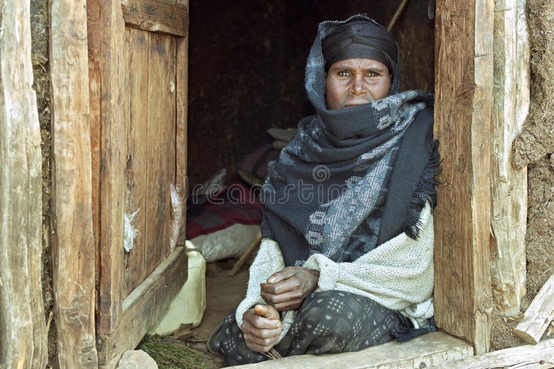 Portrait of poor and sick Ethiopian woman stock images