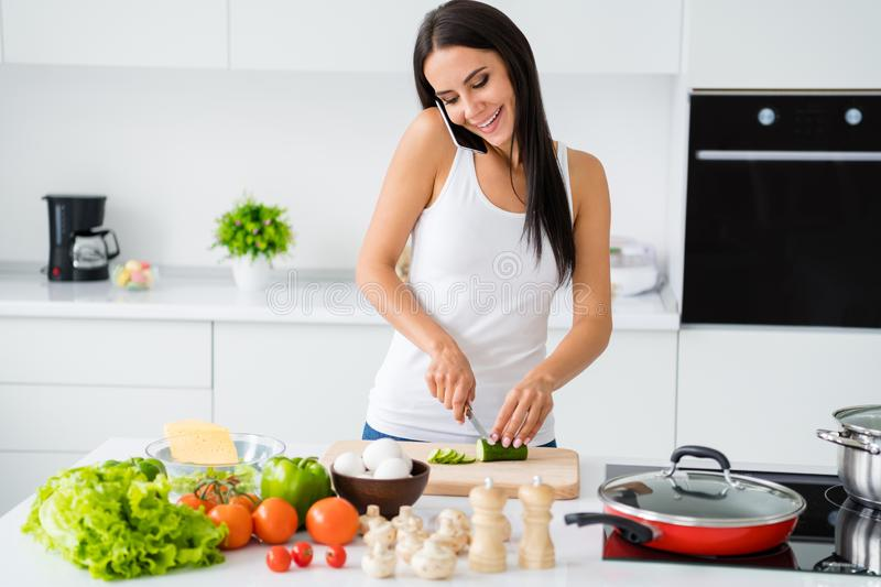 Portrait of positive cheerful girl relax weekends cooking domestic dinner supper meal speaking on cellphone with her royalty free stock image