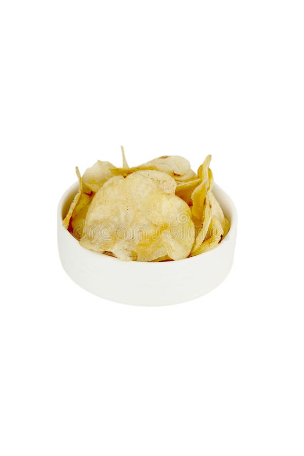 Portrait of potato chips in the white bowl for navratri festival. Isolated on the white background royalty free stock image