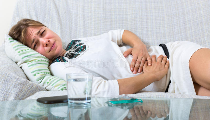 Portrait of pregnant girl with suffering royalty free stock images