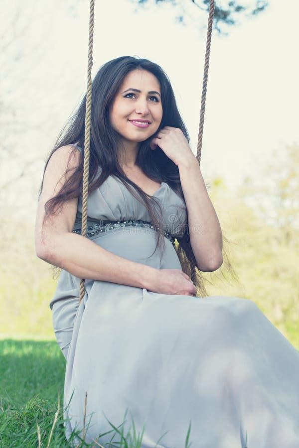 Portrait of a pregnant woman stock images