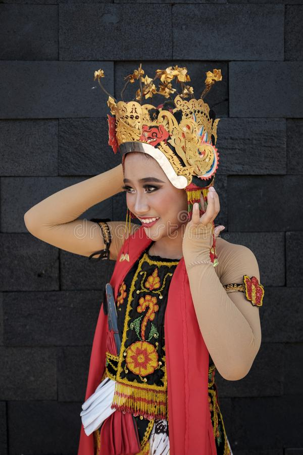 Portrait preparation of Gandrung Dancer stock photos