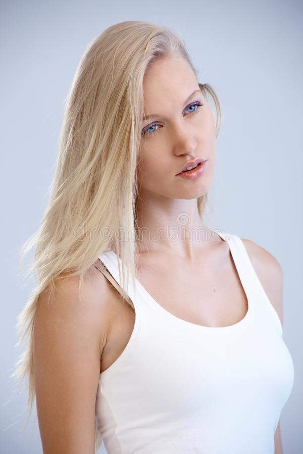 Portrait of pretty blonde woman stock image