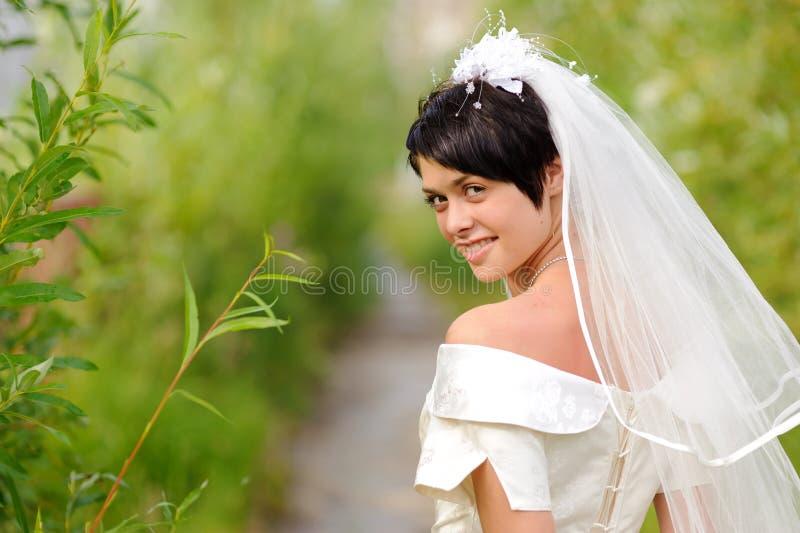 Portrait Of Pretty Brunette Bride Stock Images