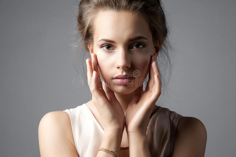 Portrait of a pretty elegant woman stock photo